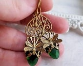 Emerald Green Dragonfly earrings, Art Nouveau dragonfly jewelry, filigree jewelry, bug insect jewelry, Boho gift for her, fantasy jewelry