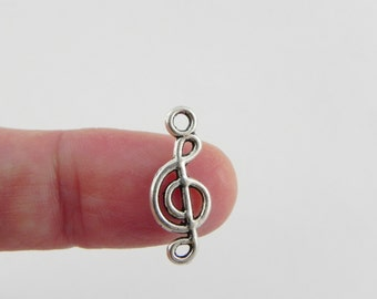 20 Treble Clef Music Charms in Antique Silver - 20mm x 8mm
