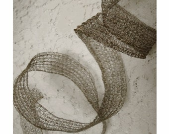 VINTAGE OLDE MeTTALIC Gold Mesh Ribbon TRIM - Yardage - AnCIENT RuSTIC Look