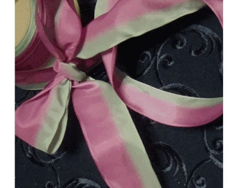 """French OMBRE Wired Ribbon - 2-Tone PISTACHIO and RASPBERRY - 1-1/2"""" Wide"""