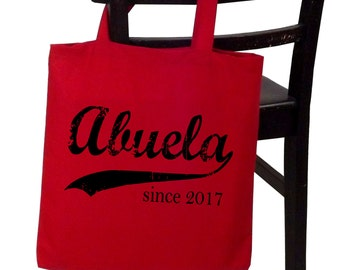 Abuela since ANY year, personalized tote, screen print cotton canvas tote bag, Christmas gift, abuela tote, new grandma