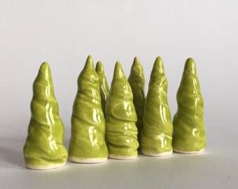 ONE Little Tree LIME Green Terrarium Miniature Ceramic Clay Pottery