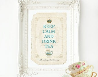 Keep calm and drink tea kitchen print, home decor in blue and cream, A4 giclee