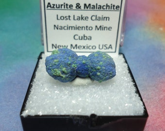 Sale Bowtie AZURITE MALACHITE Crystal Mineral Specimen In Perky Box From New Mexico USA Rare