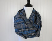 Plaid Flannel Scarf - Gray and Royal Blue Plaid - Extra Long - Women's Scarf - Winter Scarf