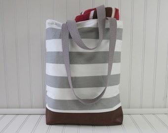 Tote - Tote Bag - Beach Bag - Small Beach Tote - Grey Stripe Beach Bag - Vegan Leather Bottom - Water Resistant Lining