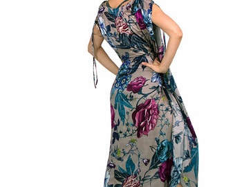 Floral Kaftan Dress, Kimono Robe, Tropical Coverup, Bridal Kimono, Boho Dress, Summer Dress, Plus Size Dress, Plus Size Clothing