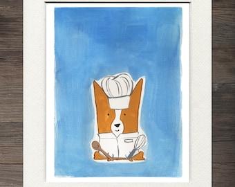 Corgi Chef Matted Art Print