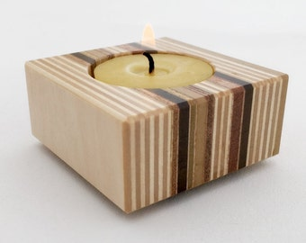 Modern Candleholder, Natural Beeswax, Recycled Wood Candle Holder, Minimalist Decor, Home Accents