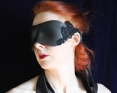 Black Leather Blindfold - Hand molded, Hand Stained Coquette Style Blindfold,  with Beaded Lace Detail and long Silk Tie - Ready to ship.