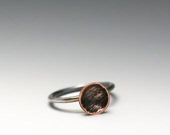stacking ring, copper stacking ring, stackable rings, dome ring, silver stacking rin, copper and silver ring, boho ring, boho jewelry, boho