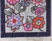 Fisba Stoffels Retro Floral Scarf From Harrods / Cotton Head Covering Switzerland / Navy Blue Orange Pink Purple Mod Flower Power Head Wrap