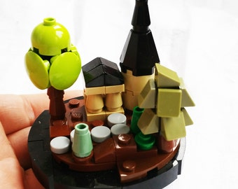 Tiny building and trees on a round base. custom LEGO creation MOC OOAK instructions included