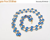 "ON SALE Vintage Swarovski Gold & Blue Crystal Bezel Necklace, Sky Blue, Bezel Set, 35"" Long, 8mm Bezels, Swan Mark, Blue Beauty! #b565"