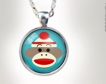 Sock Monkey BLU : Glass Dome Necklace gift present by HomeStudio. Round art photo pendant jewelry. Available as Key Ring Keychain
