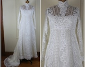 vintage 1970s MOD Bohemian Wedding Dress - lace + pearls + illusion neckline + long sleeves + train - size small to medium