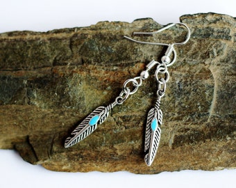 Dangle Earrings Feather Charm with Turquoise Accent by Hendywood