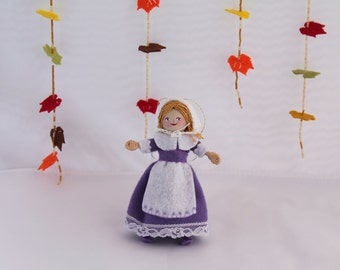 Felt Art Doll Hanging Ornament Pilgrim Girl Ready to Work, Felt Decorations, Felt Hanging Ornaments
