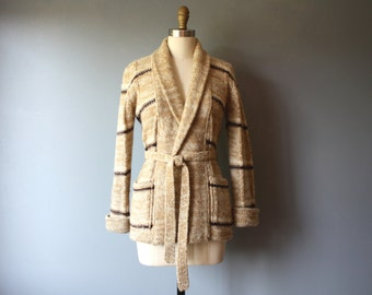 vintage 70s cardigan / striped wrap wool sweater / mustard brown wool cardigan / M
