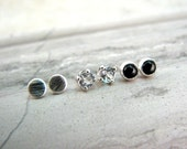 Tiny Dainty Stud Earring Set - 3mm Size Classic Gemstone and Silver Studs Set of 3 - Minimalist Gift Idea - Gift For Her - Everyday Basic