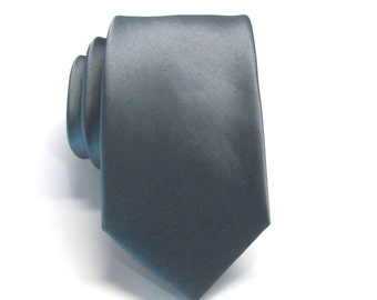 Mens Tie. Slate Gray Narrow Tie With Matching Pocket Square Option