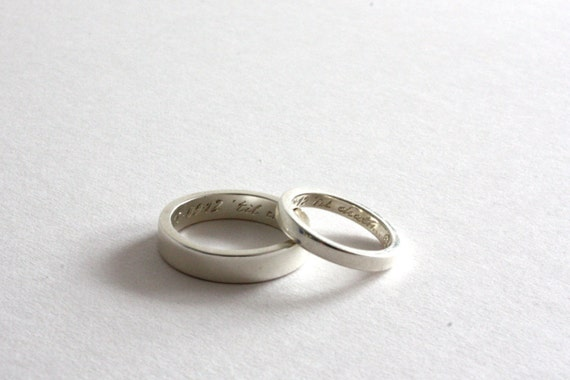 Pair of Personalised Wedding Bands Silver Wedding by RockCakes