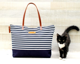 Stripe Tote Bag, NAVY and White,EXPRESS SHIPPING, Diaper Bag, Leather Straps, Diaper Set, Beach Tote Bag, Nautical Bag, Canvas Tote, Zip Bag
