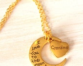 I love you to the moon and back,Grandma gift, Quote Jewelry, gift for Grandma, grandmother gift, heart necklace, Grandma necklace