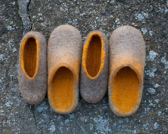 Matching family shoes slippers set 2 Pair natural wool Valenki Slippers Set
