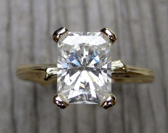 Emerald Moissanite Twig Engagement Ring: 1.8ct Forever Brilliant™ Radiant Cut