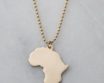 XXL 14k Solid Gold Africa Pendant