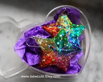 Colorful Rainbow Star Dangle Earrings, Catch a Falling Star Like Mermaid Treasure, bright rainbow glitter resin jewelry handmade by isewcute