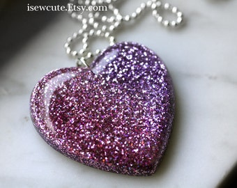 Resin Necklace, Soft Rose to Greyed Lilac Lavender Resin Glitter Heart Pendant,  Unique Resin Jewelry Hand Cast by isewcute
