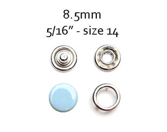 25 sets Baby Blue Snap Fasteners 8.5MM. capped snaps. clothes fasteners. no sew snap buttons. metal prong snaps. baby snaps #700158
