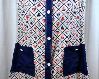 Vintage Beach Cover Up - Nautical Sailboats - Red White Blue