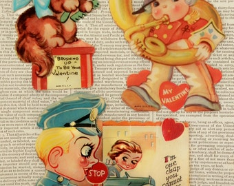 SALE VINTAGE VALENTINES Set/3 1930's Be My Valentine I Love You