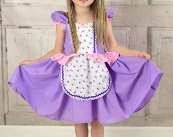 RAPUNZEL dress, Rapunzel costume, princess dress, toddlers girls practical princess, comfortable princess dress, sale