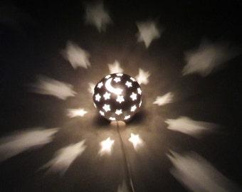 Starry Nights Night Light - Nursery and Home Decor - Handcarved Sculptural Decor - White Nursery Light - Moon and Stars Night Lamp