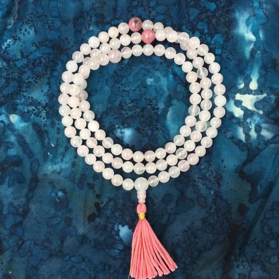 Rose Quartz Mala Bead Necklace w Rhodonite and Silk - Love and Compassion  Buddhist Rosary