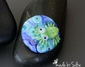 Handmade lampwork bead focal   |  Frog  |  free-formed | lentil  |  SRA  |  artisan glass |  Silke Buechler