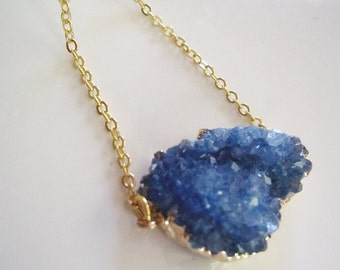 Sapphire Druzy Pendant, Quartz Necklace, Freeform Blue Druzy, Gold Edged Druzy, Bohemian Necklace, Quartz Pendant, Gardendiva