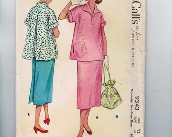 1950s Vintage Sewing Pattern McCalls 9343 Misses  Dress Two Piece Skirt Size 12 Bust 30 50s