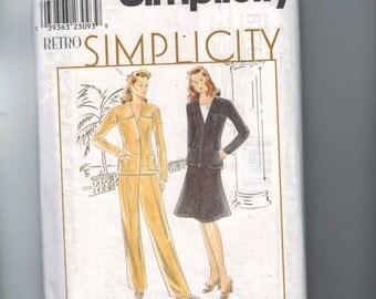 1990s Vintage Misses Sewing Pattern Simplicity 8775 Retro 1940s Pants Skirt Suit Jacket Size 18 20 22 Bust 40 42 44 UNCUT