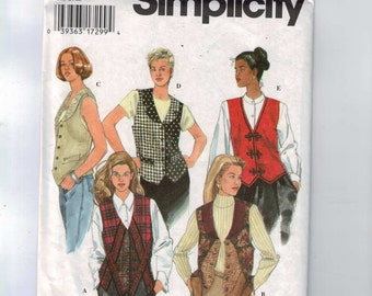 Misses Sewing Pattern Simplicity 9819 Misses Pieced Vest Embellished Back Tie Size 6 8 10 Bust 30 31 32 33 UNCUT  99