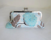 HYDRANGEA BRIDESMAID CLUTCH pool blue with silk lining and handle add on photo ready to ship