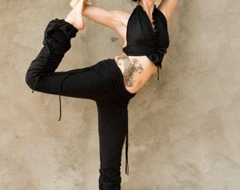 ADINATA YOGA PANTS - Organic Athletic Hippie Boho Sports Trousers Fairy Pixie Faery Cotton Plus size - Black