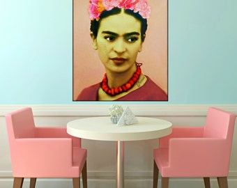 Frida Kahlo Warrior Tattoo Art Poster Print Instant Digital Download Mixed Media Collage Modern Photomontage Blush Pink Small to Poster