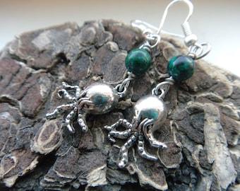 Octopus Ocean Earrings, Cthlulu Creature Monster Earrings,  Green Dangle Cephalopod Earrings