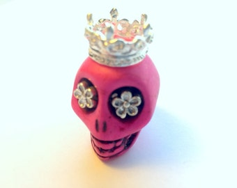 Silver Daisy Eyes Crowned Gigantic Pink Howlite Sugar Skull Bead or Pendant