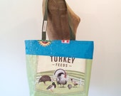 ON SALE! Tote Bag, Recycled Poultry Feed Bag, eco-friendly, made in Maine
